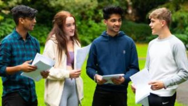 Pupils receiving their results
