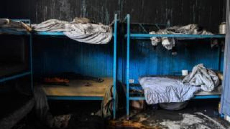 Burned remains are seen in a room inside the Orphanage of the Church of Bible Understanding where a fire broke out the previous night in the Kenscoff area outside of Port-au-Prince, 14 February, 2020.