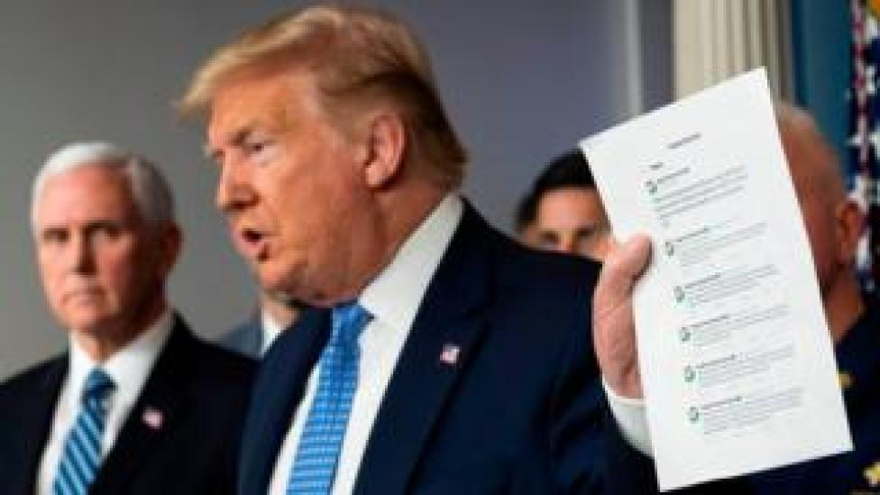 trump Donald Trump holding up printed sheet of Google tweets