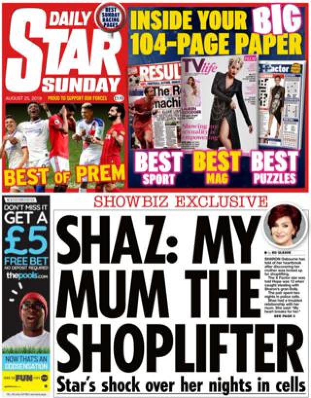Daily Star Sunday front page, 25/8/19