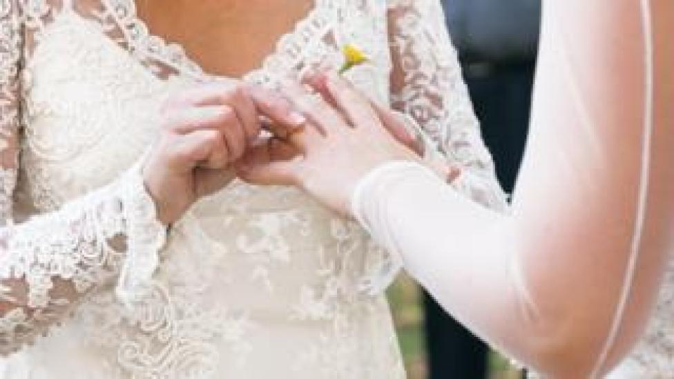 Brides exchanging wedding rings