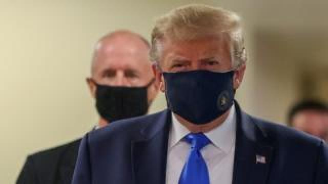President Trump wearing a mask at Walter Reed military hospital, 11 July 2020