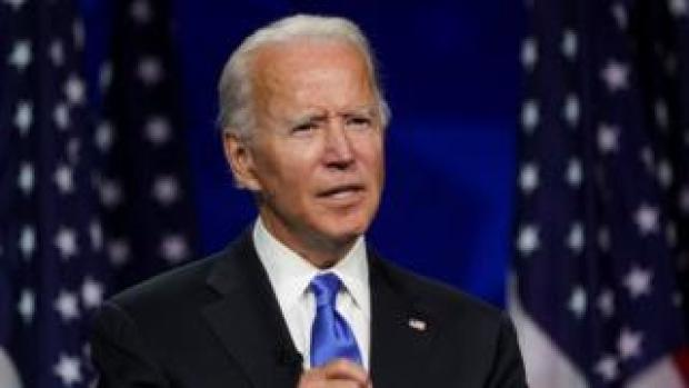 Former U.S. Vice President Joe Biden accepts the 2020 Democratic presidential nomination during a speech