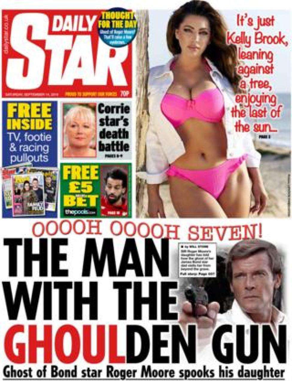 The front page of the Daily Star on 14 September 2019