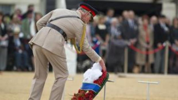 Prince Charles, Prince of Wales lays a wreath during the Drumhead Service during the 70th Anniversary commemorations of VJ Day
