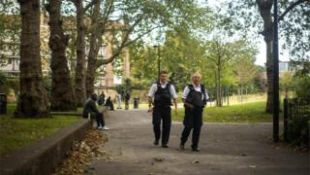 Police officers in Nursery Row Park