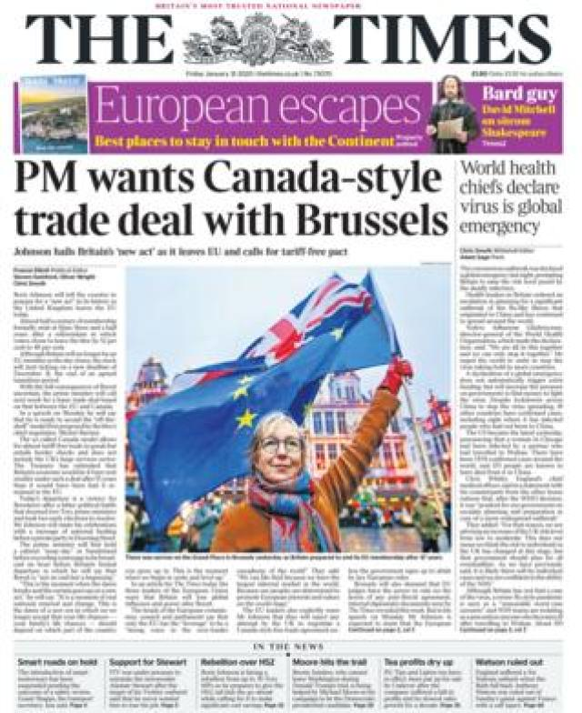 Friday's Times front page