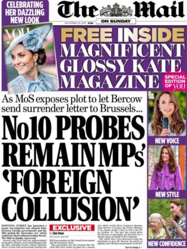 The Mail on Sunday's front page September 29