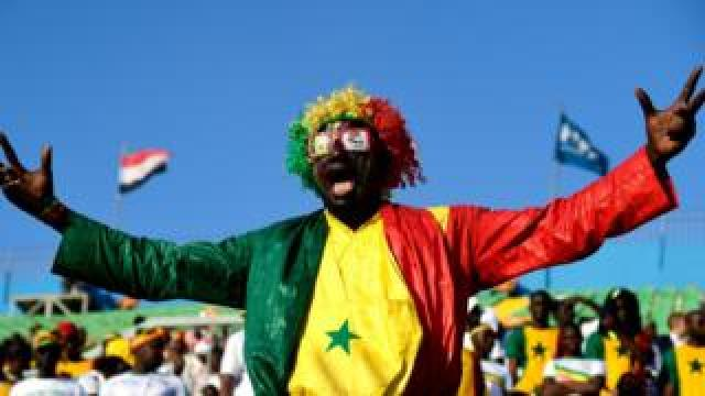 A Senegal supporter cheers during the 2019 Africa Cup of Nations (CAN) quarter final football match between Senegal and Benin at the 30 June stadium in Cairo on July 9, 2019.