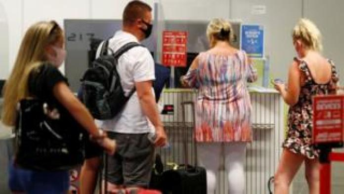 British tourists at an airport