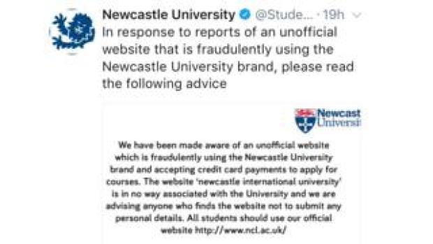 Newcastle University tweet