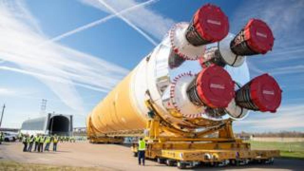trump The giant SLS core stage on the move in January from Michoud to Stennis