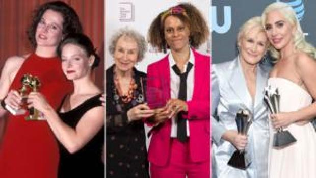 Sigourney Weaver with Jodie Foster, Margaret Atwood with Bernardine Evaristo and Glenn Close with Lady Gaga