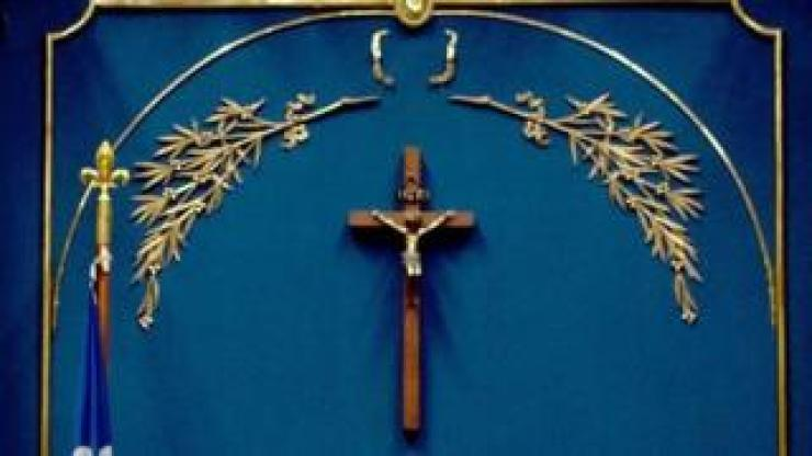 A crucifix hangs in Quebec's National Assembly