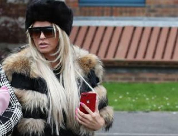Katie Price arriving at Crawley Magistrates' Court on 20 March