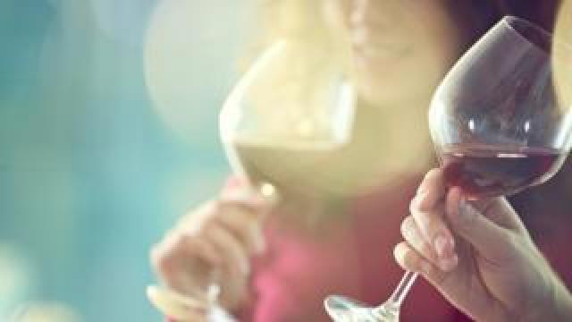 Red wine drinking