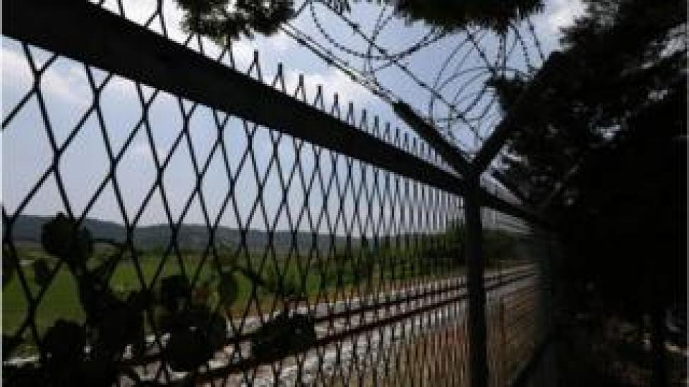 trump Barbed-wire fence is seen at the Imjingak Pavilion, near the demilitarized zone (DMZ) on June 16, 2020 in Paju, South Korea.
