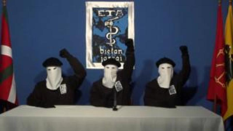 Three members of Basque separatist group ETA sit masked in a still image taken from a video published on the website of Basque language newspaper Gara on October 20, 2011.