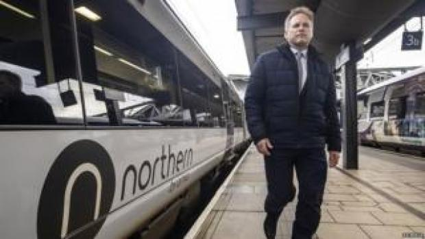 Grant Shapps during a visit to a Leeds railway station in January
