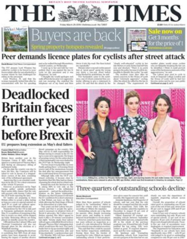 The Times front page, 29/3/19