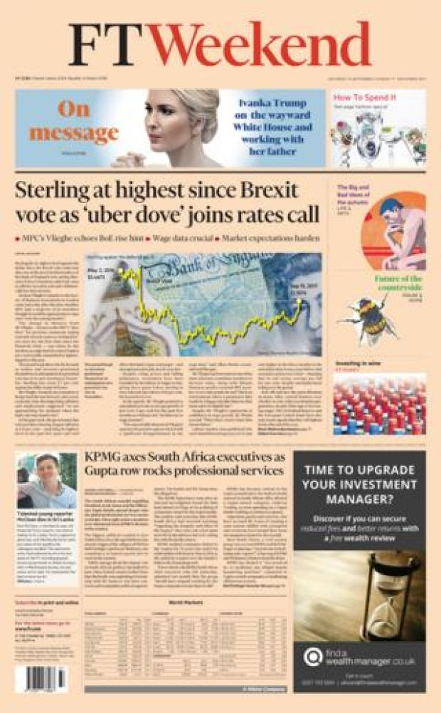 Financial Times front page 16/09/2017