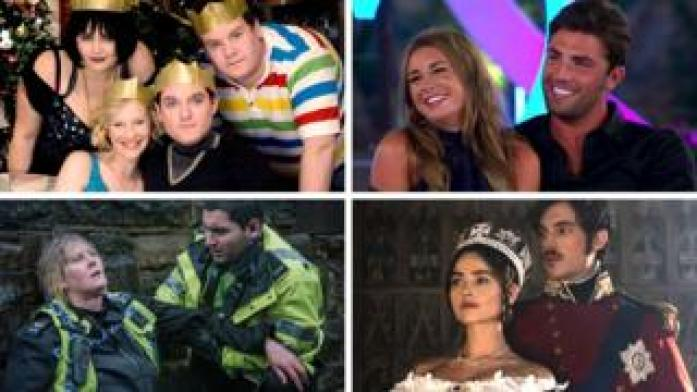 Clockwise from top left: Gavin & Stacey, Love Island, Victoria and Happy Valley
