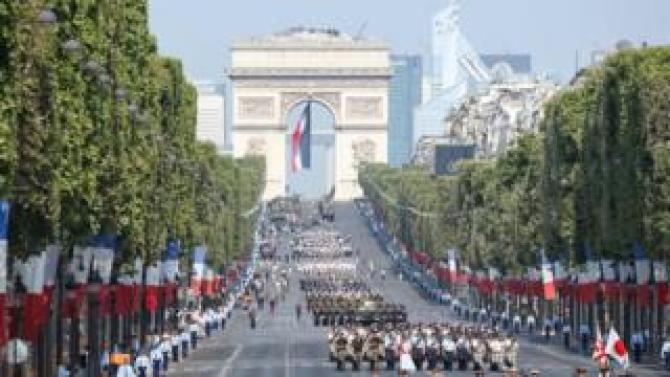 View of the parade on Champs-Elysées