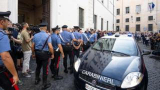 Carabinieri officers paid their respects to Mario Cerciello Rega at a church service in Rome, Italy