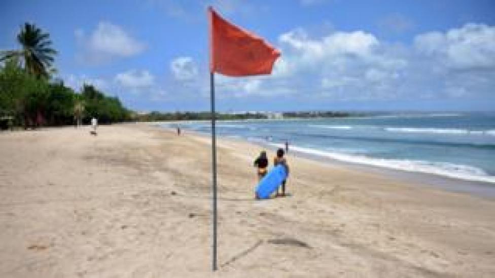 A quiet beach at Kuta, Bali, Indonesia (15 Aug 2020)