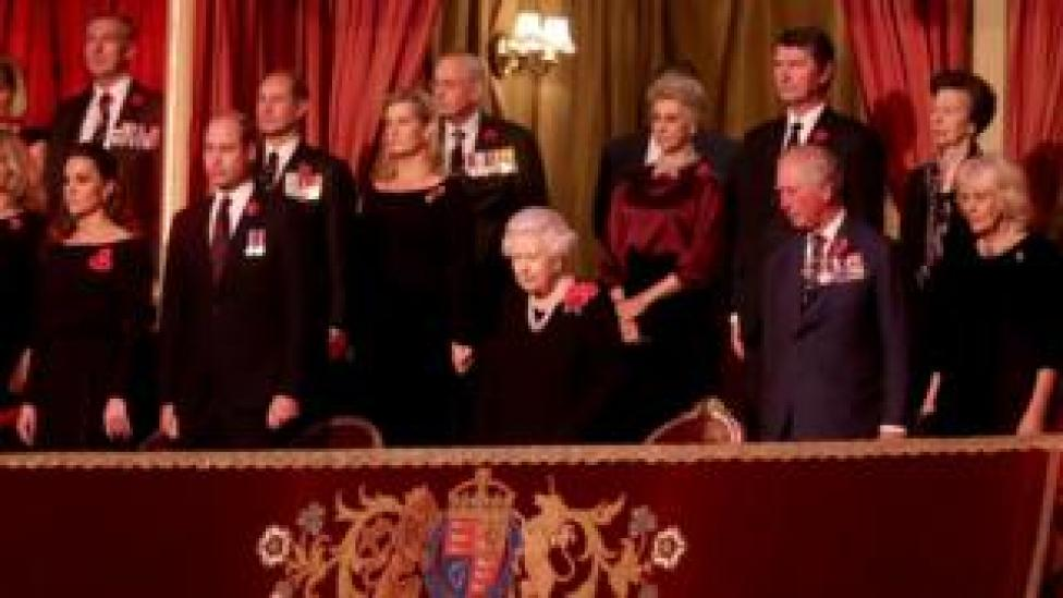Those in the royal box included (L-R) the Duchess of Cambridge, the Duke of Cambridge, Prince Edward, the Countess of Wessex, the Queen, the Duchess of Gloucester, Vice Admiral Sir Tim Laurence, Prince Charles, Princess Anne and the Duchess of Cornwall