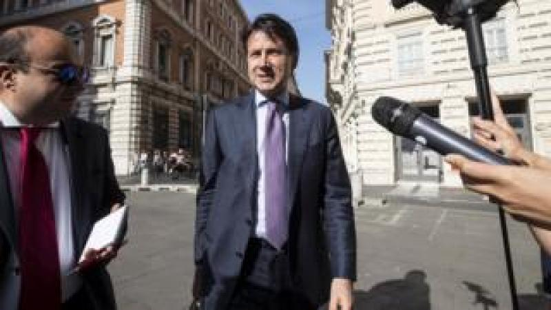 Giuseppe Conte arrives at the Montecitorio Palace, housing the Lower House of the Italian parliament, in Rome, 31 May 2018