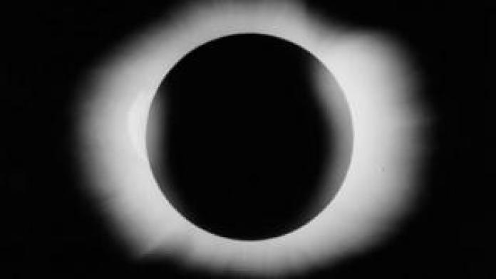 The solar eclipse in 1919. Photo taken by Arthur Eddington