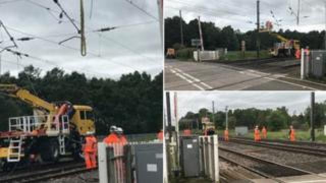 Engineers work on railway line