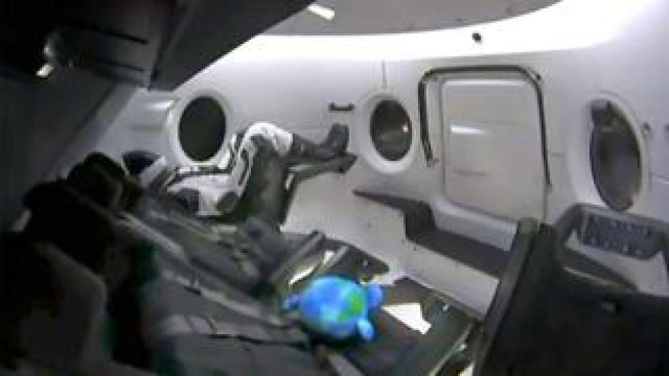 The instrumented test dummy will remain in the capsule throughout the mission