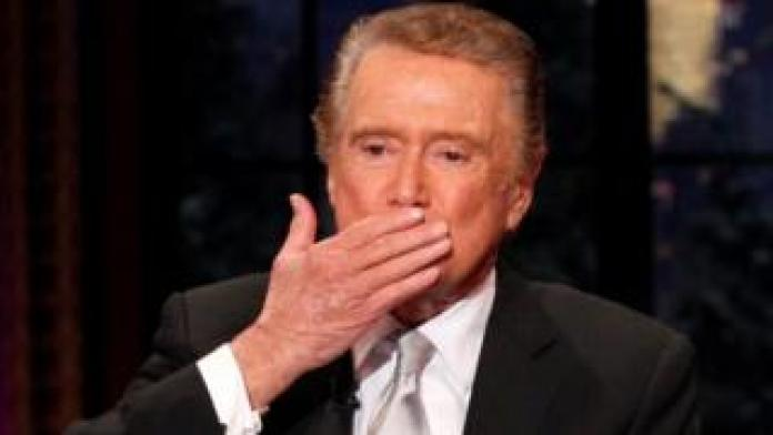 Regis Philbin blows a kiss as he departs Live! with Regis and Kelly in 2011
