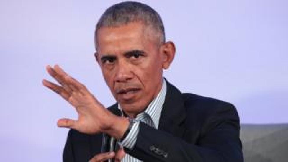 trump Former US President Barack Obama speaks to guests at the Obama Foundation Summit