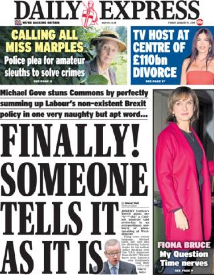 Daily Express front page, 11/1/19