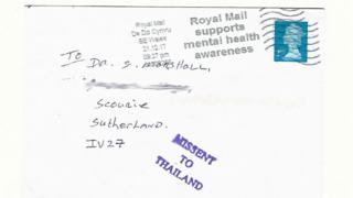 Scottish letter arrives via Wales and Thailand