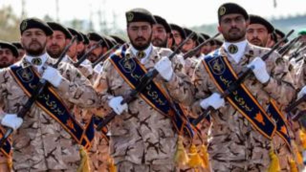 trump Members of Iran's Revolutionary Guards Corps (IRGC) at a military parade in the capital Tehran on September 22, 2018