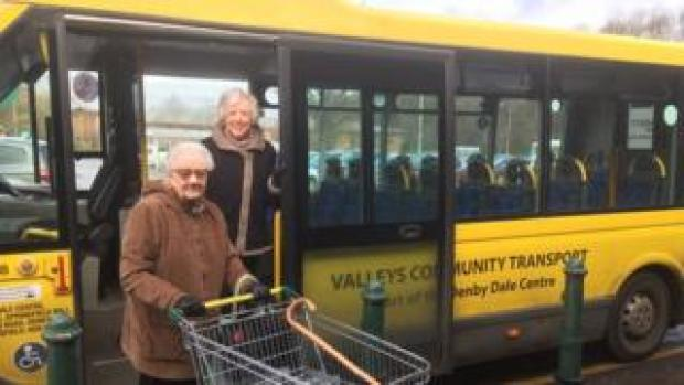 Betty Sharpe and Marion Crawford on a community bus