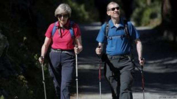 Theresa and Philip May during a walking trip to Switzerland in August 2016