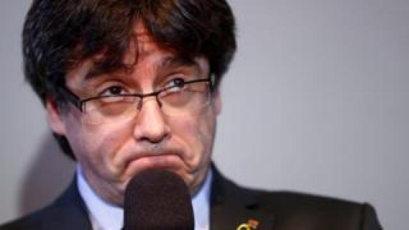 Catalonia's former leader Carles Puigdemont reacts during a news conference in Berlin, Germany, April 7, 2018.