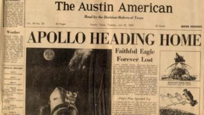Front page of The Austin American newspaper, July 22, 1969, from the Michael Cooper Papers