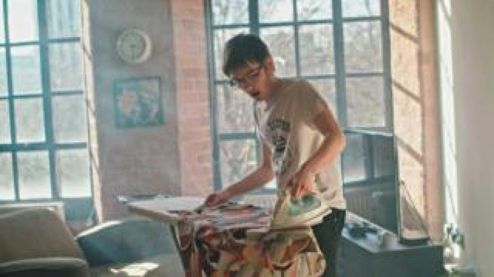 Anthony doing some ironing