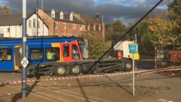 Tram-train collision with lorry