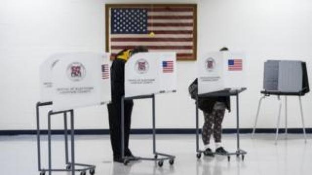 Voters in Leesburg, Virginia, on 6 November 2018