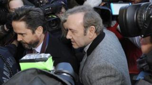Kevin Spacey exits the courthouse after making an appearance during his arraignment at the Nantucket District Court in January 2019