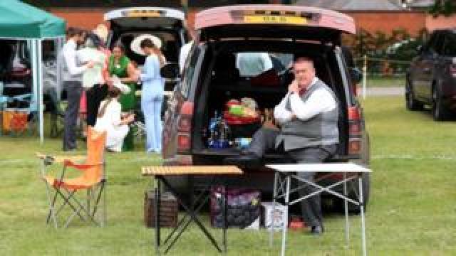 Man having picnic in car