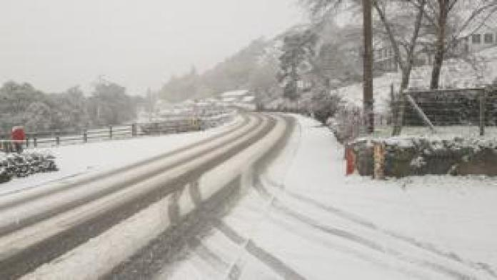 A5 at Capel Curig under a blanket of snow