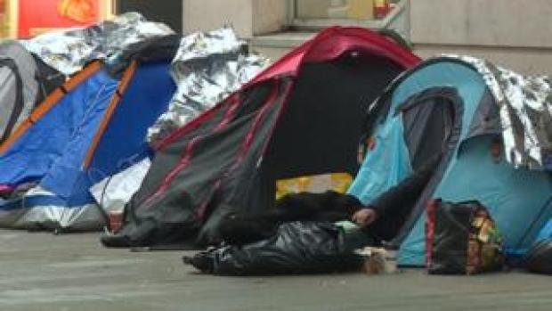 Tents in street